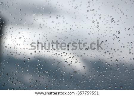 Drops of rain on the window (glass). Shallow DOF. #357759551