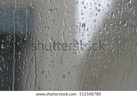 Drops of rain water glass