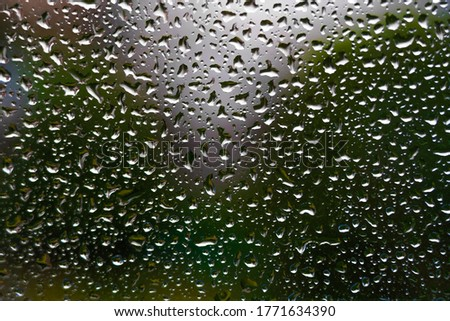 Drops of water on glass after rain