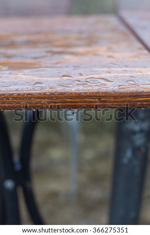 Drops of water on the table. Water stains on the textured surface.