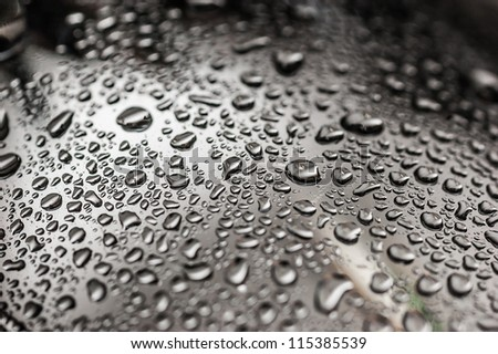 Drops of water-repellent surface