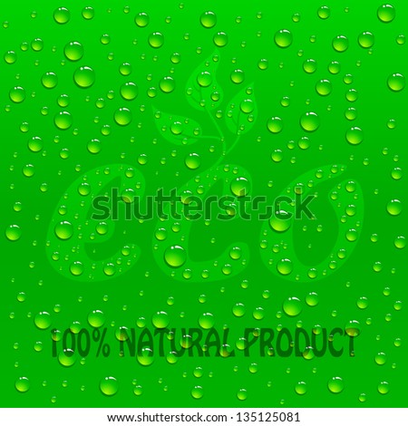 Drops on Green Eco background, illustration