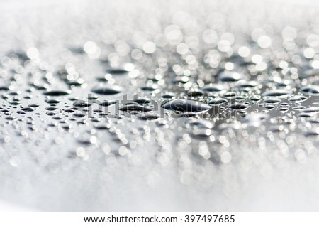 drops on the glass surface of the matrix TFT monitor closely, background #397497685