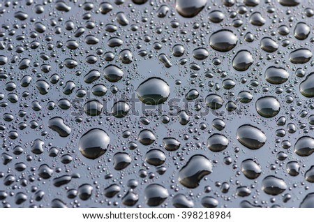 drops on the glass surface of the matrix TFT monitor closely, background #398218984