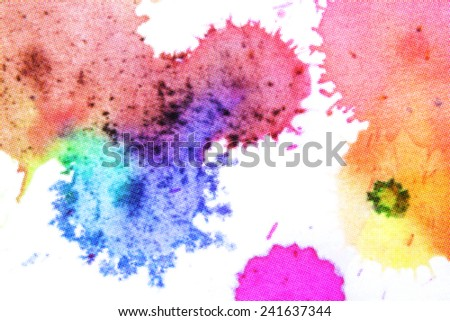 drops water color on white paper background color halftone stlye