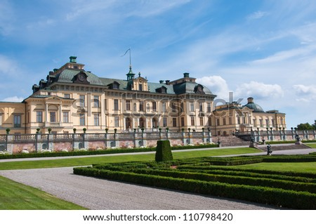Drottningholm Palace, Stockholm, Sweden. Apart from being the private residence of the Swedish royal family, the palace is a popular tourist attraction.