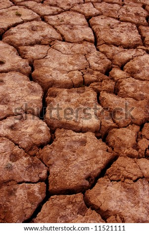 Drought - cracked red earth from a dried up lake