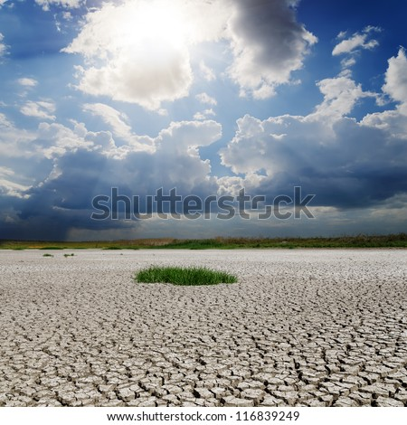drought earth and sun with clouds