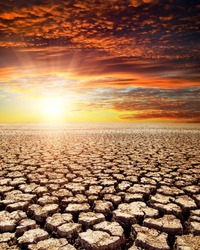 drought land under red sunset