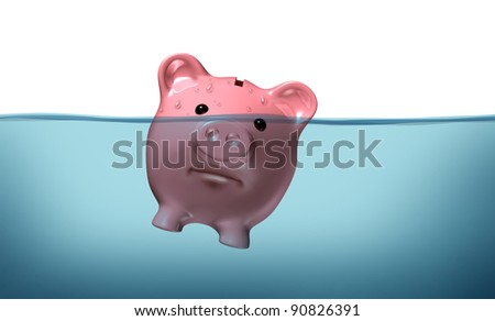 Drowning in debt and keeping your financial head above water represented by a piggy bank pink pig sinking in blue water as a symbol of urgent business and money management failure and defeat.