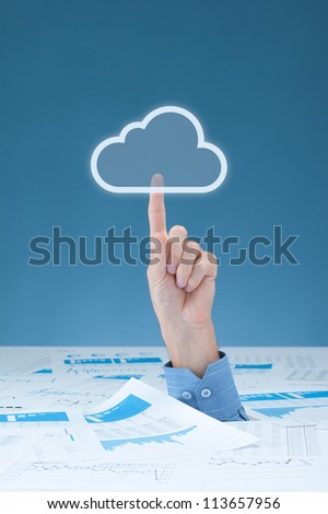 Drowning in paperwork and have lots of versions of one document? Cloud computing is solution. Administrative worker click on virtual cloud icon - rescue of paperwork and document versions.