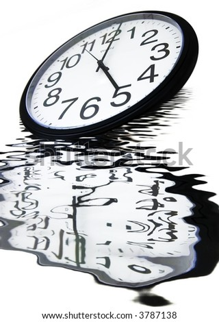 Drowning the time - Office clock showing 5, sinking in a pool of rippling water, with beautiful reflections