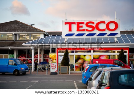 Droylsden, Manchester - Mar 26: Tesco Store On March 26, 2013 In Droylsden, Manchester. United Kingdom, Great Britain, England, Uk. Tesco Is Britain\'S Biggest Supermarket And Biggest Retailer In Uk.