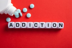 Drug addict or medical abuse concept. Obsession to pharmaceutical substances or narcotics or anxiety pills.