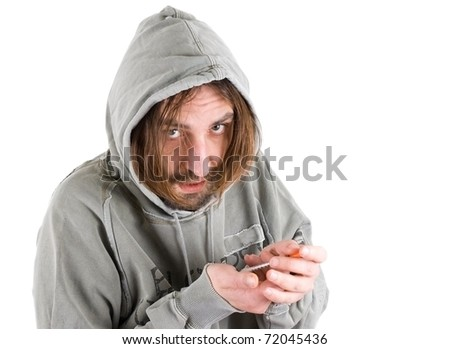 drug addict young man with syringe