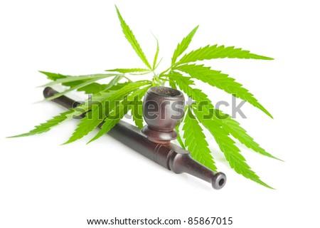 Drug cannabis. Marijuana flower bud and pipe isolated on white background