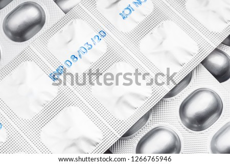 Drug expiration dates . Expiry date on packet of medication