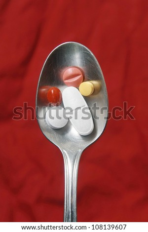 drug pills and spoon