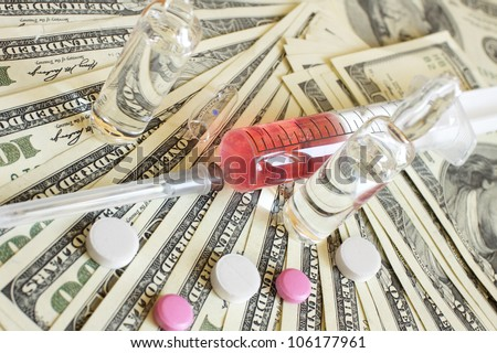 Drugs and money. Medical background. photo.