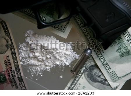 drugs - cocaine  - gun