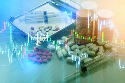 drugs pill and stock chart growing up with money, business and economic news background. business profit analysis trend and future. hospital and healthcare segment
