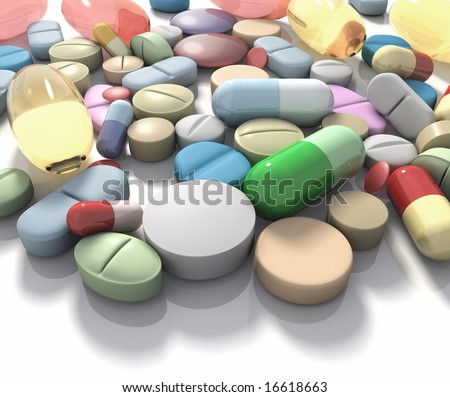 Drugs / Supplement. Spilled pills of drug or alimentary supplement. Concept of Health and Disease.