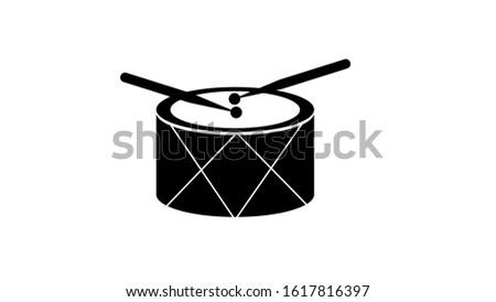 drum and drum sticks. flat icon on white background.