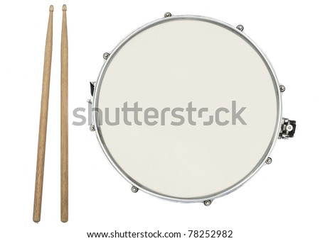 Drum and Drumsticks from top isolated on white