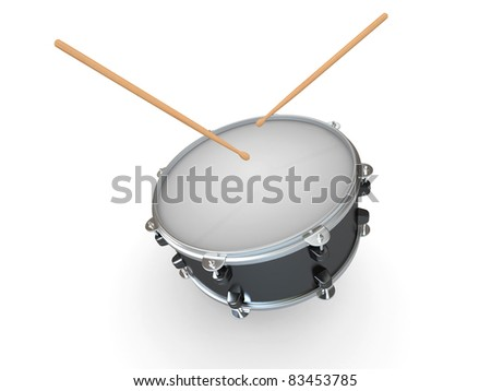 Drum and drumsticks on white isolated background. 3d