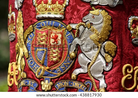 Drum Horse Coat of Arms The Household Cavalry London england