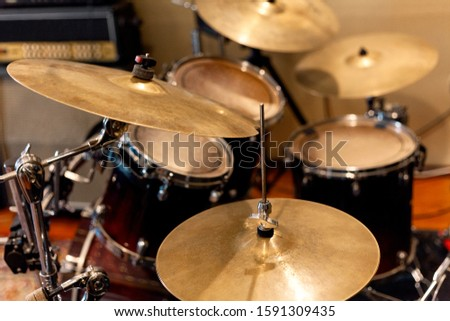 Drum kit on stage. Live music. Festival. Musical background. Close Shot of Drum set. Drummer equipment. Picture of drums and snare. Drums conceptual image.