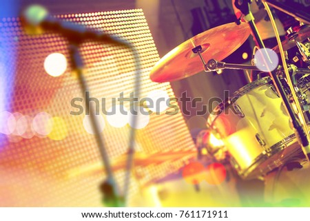 Drum on stage and festive event.Live music background. Drumset on stage.Concert and show entertainment