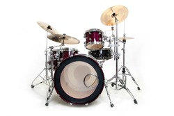 Drum Set Isolated in Black and White