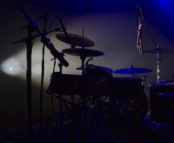 Drum set on concert stage