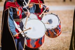 Drummer in medieval parade