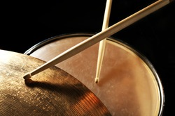Drummer playing the drums closeup