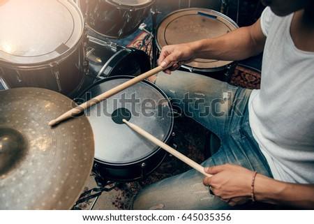 Drummer plays drum in studio ストックフォト ©
