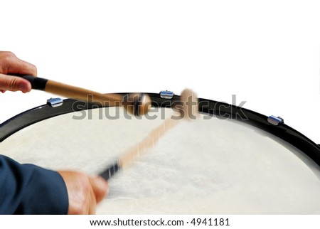 drummer with moving drumsticks in action isolated on white background