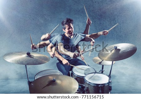 Drummer with multiple arms ストックフォト ©