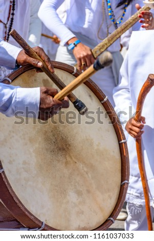 Drums being played in a religious and popular festival in the city of Belo Horizonte, Minas Gerais, Brazil #1161037033