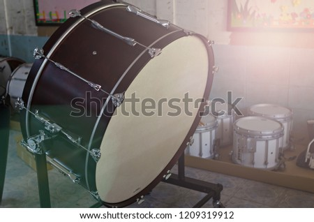 Drums in a music instrument store room