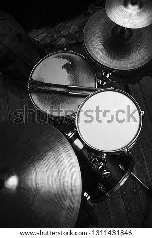 Drums set in black and white