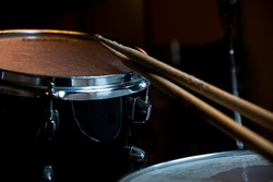 Drumsticks and Drums. Music and musical instruments in music studio