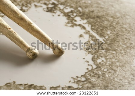 drumsticks playing on a well worn snare drum or tom tom skin stock photo 23122651 shutterstock. Black Bedroom Furniture Sets. Home Design Ideas
