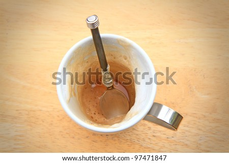 drunk coffee cup and saucer - stock photo