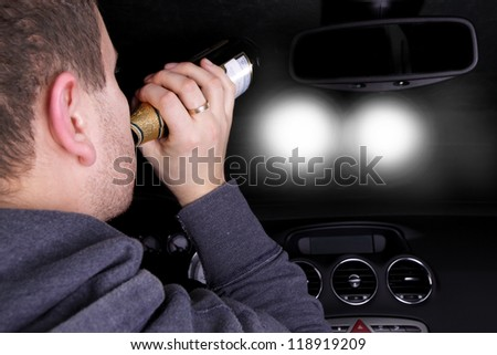 drunk driver goes on collision with another car - stock photo