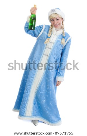 drunk girl dressed in traditional russian christmas costume of Snegurochka (Snow Maiden) with bottle of champagne, isolated on white background