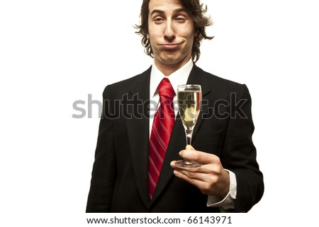 drunk guy holding champagne glass on a white background
