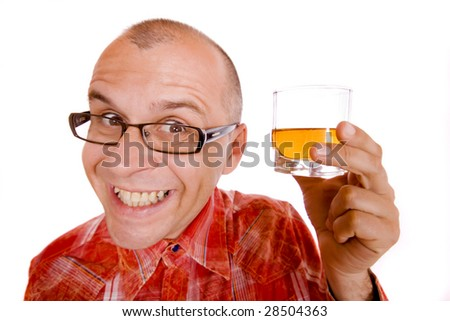 Drunk man holding a glass of whiskey isolated on white