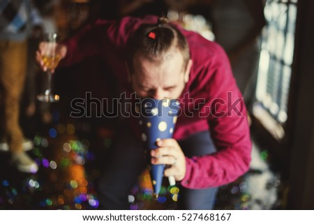 Drunk Man Vomit Party Hat Alcohol Abuse Hangover Concept #527468167